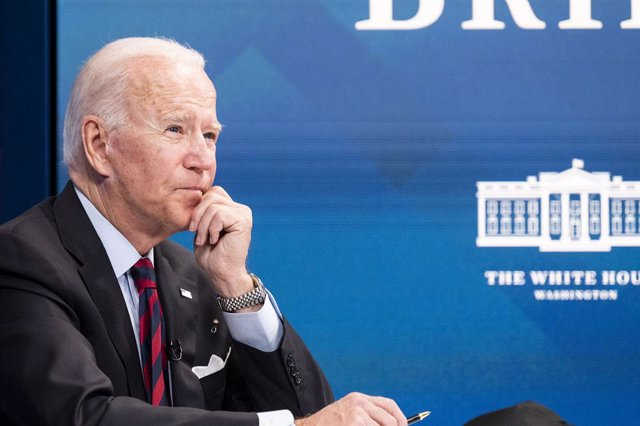 Archivo - 30 August 2021, US, Washington: US President Joe Biden attends a virtual meeting with Governors and Mayors from states and cities impacted by Hurricane Ida. Photo: Michael Brochstein/ZUMA Press Wire/dpa