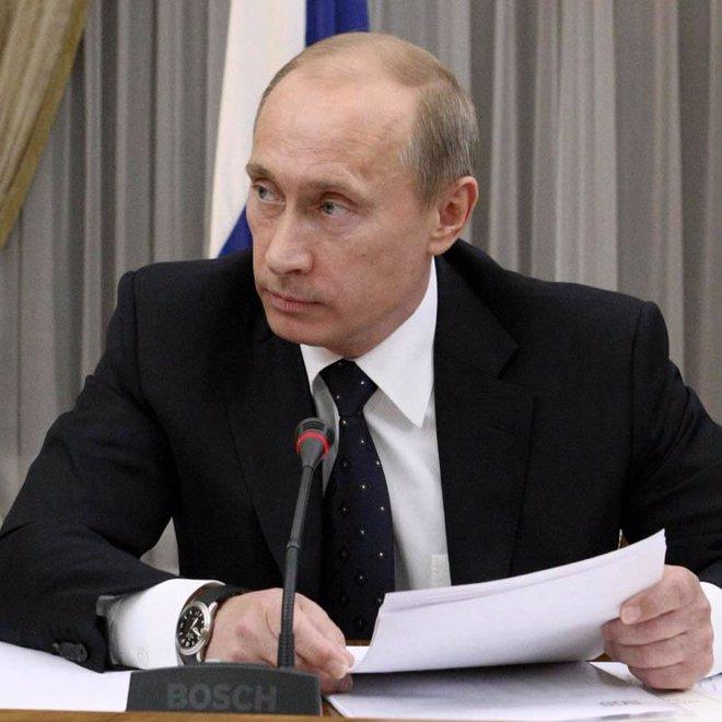 Primer plano de Vladimir Putin