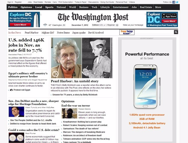 Página web The Washington Post