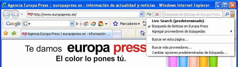 Ejemplo de integración del buscador en Internet Explorer 7.0