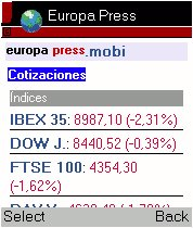 Cotizaciones en europapress.mobi