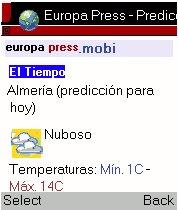 Información Meteorológica en europapress.mobi