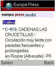 Información de Tráfico en europapress.mobi